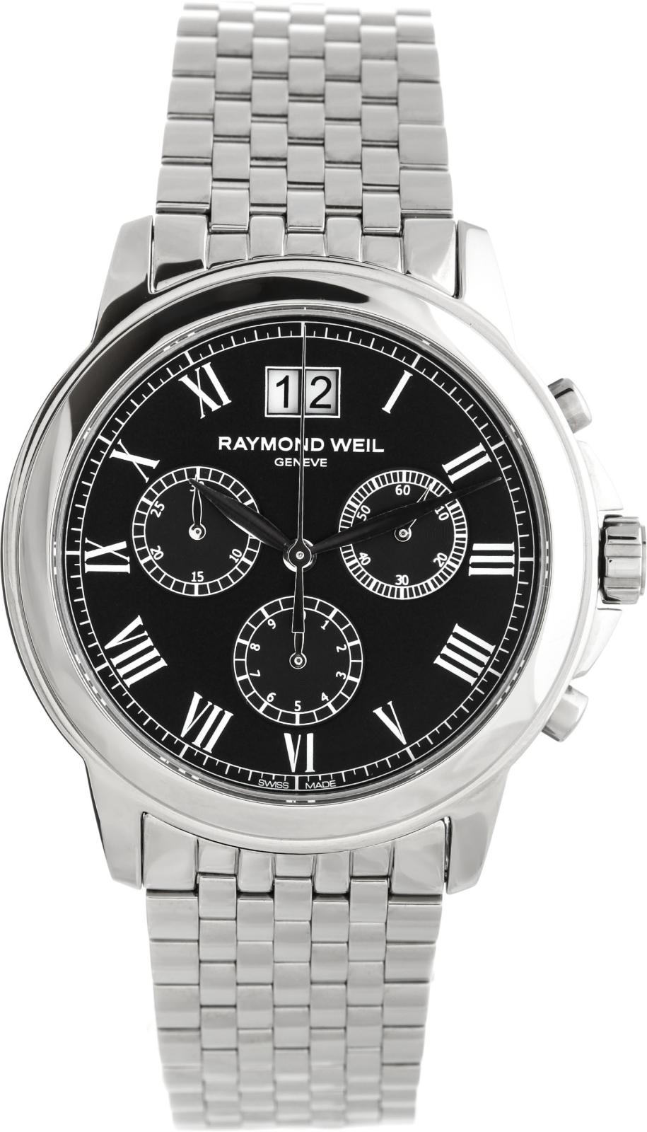 Raymond Weil Tradition 4476-ST-00200Наручные часы<br>Швейцарские часы Raymond Weil Tradition 4476-ST-00200Представленная модель входит в коллекцию Tradition. Это модные мужские часы. Материал корпуса часов — сталь. В этой модели стоит сапфировое стекло. Часы выдерживают давление на глубине 50 м. Основной цвет циферблата черный. Циферблат часов содержит часы, минуты, секунды. В этих часах используются такие усложнения как дата, хронограф. Диаметр корпуса часов составляет 39мм.<br><br>Пол: Мужские<br>Страна-производитель: Швейцария<br>Механизм: Кварцевый<br>Материал корпуса: Сталь<br>Материал ремня/браслета: Сталь<br>Водозащита, диапазон: 20 - 100 м<br>Стекло: Сапфировое<br>Толщина корпуса: None<br>Стиль: Спорт