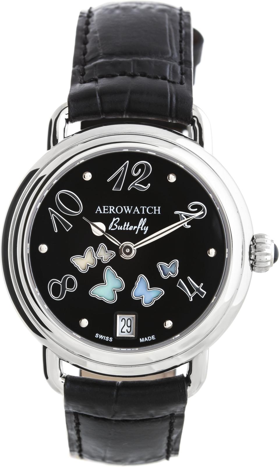 Aerowatch Lady Butterfly 44960 AA03Наручные часы<br>Швейцарские часы Aerowatch Lady Butterfly 44960 AA03<br><br>Пол: Женские<br>Страна-производитель: Швейцария<br>Механизм: Кварцевый<br>Материал корпуса: Сталь<br>Материал ремня/браслета: Кожа<br>Водозащита, диапазон: 20 - 100 м<br>Стекло: Сапфировое<br>Толщина корпуса: 9 мм<br>Стиль: Классика