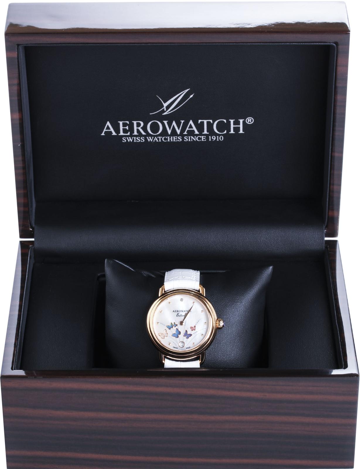 Aerowatch 1942 Butterfly 44960 RO05Наручные часы<br>Швейцарские часы Aerowatch 1942 Butterfly 44960 RO05<br><br>Пол: Женские<br>Страна-производитель: Швейцария<br>Механизм: Кварцевый<br>Материал корпуса: Сталь<br>Материал ремня/браслета: Кожа<br>Водозащита, диапазон: None<br>Стекло: Сапфировое<br>Толщина корпуса: None<br>Стиль: None