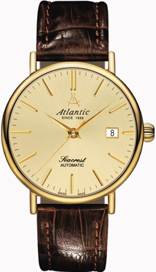 Atlantic Seacrest 50744.45.31Наручные часы<br>Швейцарские часы Atlantic Seacrest 50744.45.31<br><br>Пол: Мужские<br>Страна-производитель: Швейцария<br>Механизм: Механический<br>Материал корпуса: Сталь<br>Материал ремня/браслета: Кожа<br>Водозащита, диапазон: 20 - 100 м<br>Стекло: Сапфировое<br>Толщина корпуса: 11 мм<br>Стиль: Классика