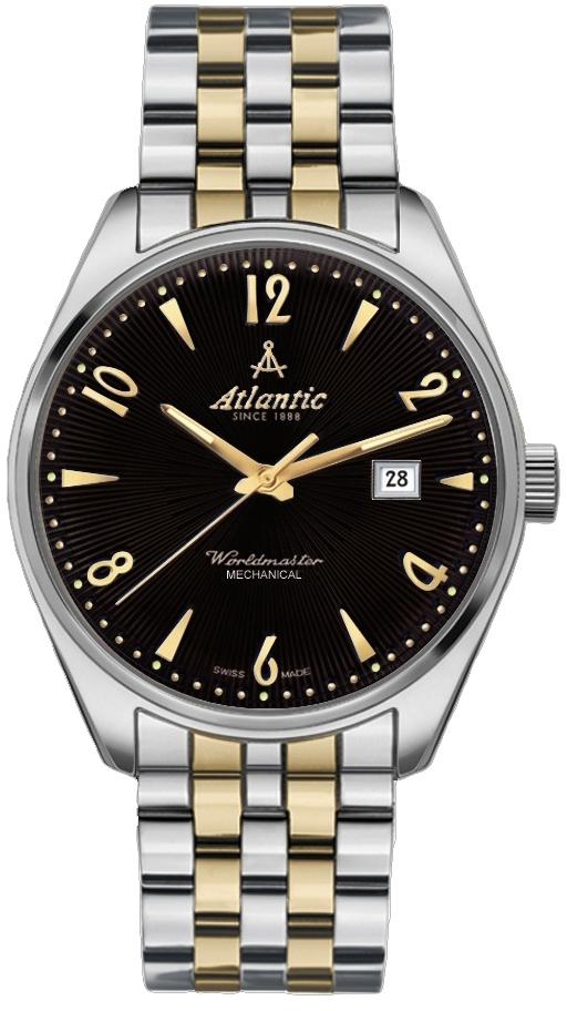 Atlantic Worldmaster 51651.41.65GMНаручные часы<br>Швейцарские часы Atlantic Worldmaster 51651.41.65GM<br><br>Пол: Мужские<br>Страна-производитель: Швейцария<br>Механизм: Механический<br>Материал корпуса: Сталь<br>Материал ремня/браслета: Сталь+золото<br>Водозащита, диапазон: 20 - 100 м<br>Стекло: Сапфировое<br>Толщина корпуса: None<br>Стиль: Классика
