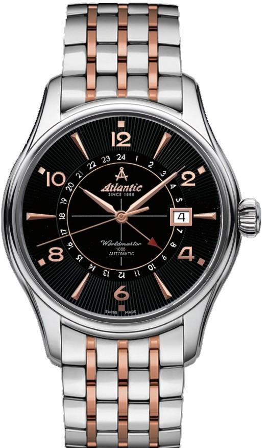 Atlantic Worlmaster 52756.41.65RMНаручные часы<br>Швейцарские часы Atlantic Worlmaster 52756.41.65RM<br><br>Пол: Мужские<br>Страна-производитель: Швейцария<br>Механизм: Механический<br>Материал корпуса: Сталь<br>Материал ремня/браслета: Сталь<br>Водозащита, диапазон: 20 - 100 м<br>Стекло: Сапфировое<br>Толщина корпуса: None<br>Стиль: Классика