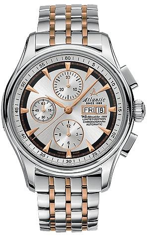 Atlantic Worldmaster 52850.41.21RMНаручные часы<br>Швейцарские часы Atlantic Worldmaster 52850.41.21RM<br><br>Пол: Мужские<br>Страна-производитель: Швейцария<br>Механизм: Механический<br>Материал корпуса: Сталь<br>Материал ремня/браслета: Сталь+золото<br>Водозащита, диапазон: 20 - 100 м<br>Стекло: Сапфировое<br>Толщина корпуса: 7 мм<br>Стиль: Классика