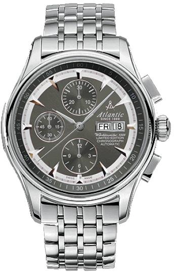Atlantic Worldmaster 52850.41.41SMНаручные часы<br>Швейцарские часы Atlantic Worldmaster 52850.41.41SM<br><br>Для кого?: Мужские<br>Страна-производитель: Швейцария<br>Механизм: Механический<br>Материал корпуса: Сталь<br>Материал ремня/браслета: Сталь<br>Водозащита, диапазон: 20 - 100 м<br>Стекло: Сапфировое<br>Толщина корпуса: 7 мм<br>Стиль: Классика