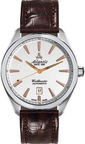 Atlantic Worldmaster 53750.41.21RНаручные часы<br>Швейцарские часы Atlantic Worldmaster 53750.41.21R<br><br>Пол: Мужские<br>Страна-производитель: Швейцария<br>Механизм: Механический<br>Материал корпуса: Сталь<br>Материал ремня/браслета: Кожа<br>Водозащита, диапазон: 100 - 150 м<br>Стекло: Сапфировое<br>Толщина корпуса: None<br>Стиль: Классика