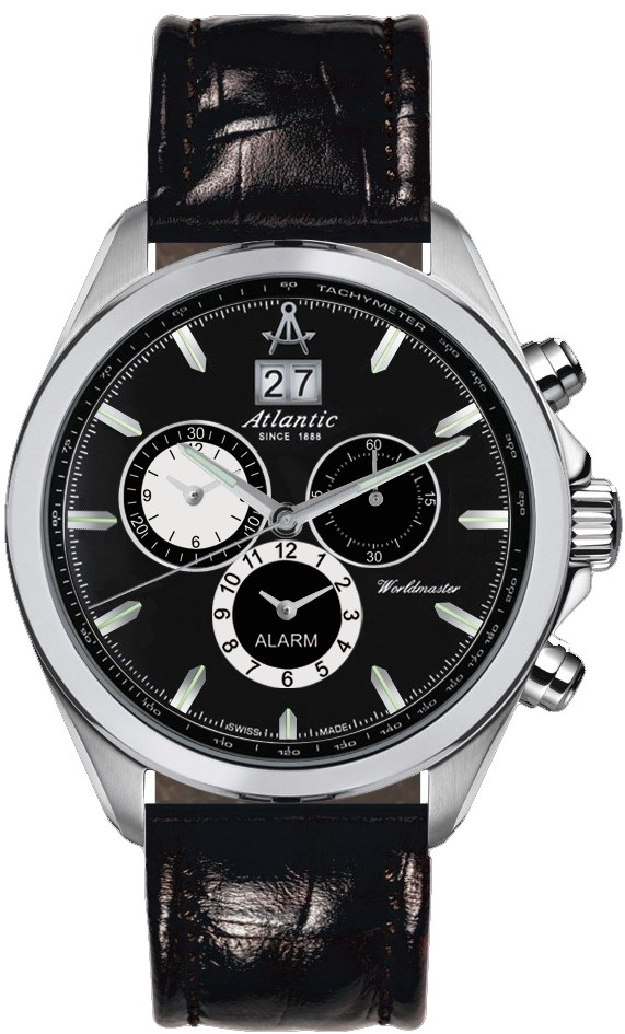 Atlantic Worldmaster 55462.41.61Наручные часы<br>Швейцарские часы Atlantic Worldmaster 55462.41.61<br><br>Пол: Мужские<br>Страна-производитель: Швейцария<br>Механизм: Кварцевый<br>Материал корпуса: Сталь<br>Материал ремня/браслета: Кожа<br>Водозащита, диапазон: 100 - 150 м<br>Стекло: Сапфировое<br>Толщина корпуса: None<br>Стиль: Спорт