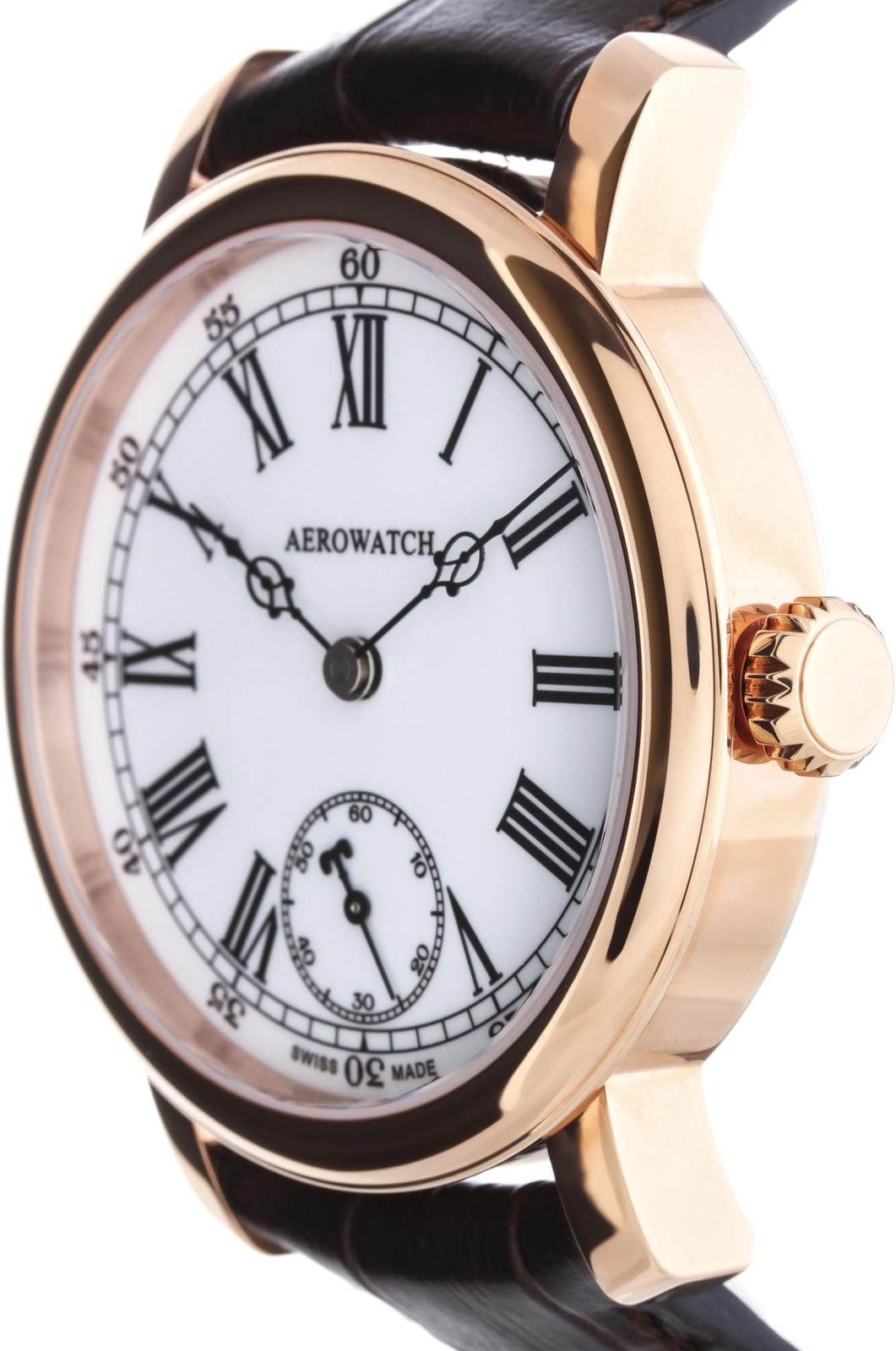 Aerowatch Renaissance 55931 RO03Наручные часы<br>Швейцарские часы Aerowatch Renaissance 55931 RO03<br><br>Пол: Мужские<br>Страна-производитель: Швейцария<br>Механизм: Механический<br>Материал корпуса: Сталь<br>Материал ремня/браслета: Кожа<br>Водозащита, диапазон: None<br>Стекло: Сапфировое<br>Толщина корпуса: None<br>Стиль: None