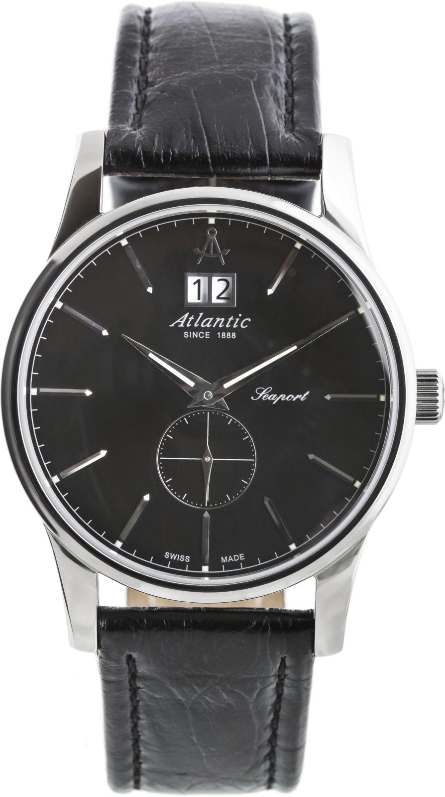Atlantic Seaport 56350.41.61Наручные часы<br>Швейцарские часы Atlantic Seaport 56350.41.61Представленная модель входит в коллекцию Seaport. Это великолепные мужские часы. Материал корпуса часов &amp;mdash; сталь. Циферблат часов защищает сапфировое стекло. Водозащита этой модели 50 м. Цвет циферблата - черный. Циферблат содержит часы, минуты, секунды. В этих часах используются такие усложнения как дата, . Диаметр корпуса 39мм.<br><br>Пол: Мужские<br>Страна-производитель: None<br>Механизм: Кварцевый<br>Материал корпуса: Сталь<br>Материал ремня/браслета: Кожа<br>Водозащита, диапазон: None<br>Стекло: Сапфировое<br>Толщина корпуса: 12<br>Стиль: Классика