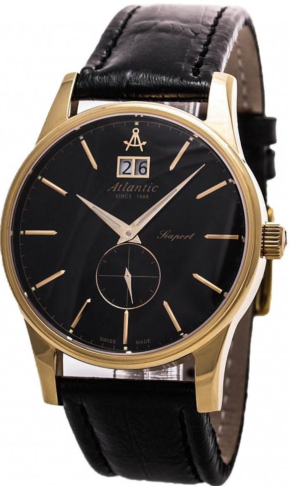 Atlantic Seaport 56350.45.61Наручные часы<br>Швейцарские часы Atlantic Seaport 56350.45.61Модель входит в коллекцию Seaport. Это настоящие мужские часы. Материал корпуса часов — сталь+золото. В этой модели стоит сапфировое стекло. Водозащита этих часов 50 м. Основной цвет циферблата черный. Из основных функций на циферблате представлены: часы, минуты, секунды. В этих часах используются такие усложнения как дата, . Диаметр корпуса данной модели 39мм.<br><br>Пол: Мужские<br>Страна-производитель: None<br>Механизм: Кварцевый<br>Материал корпуса: Сталь+золото<br>Материал ремня/браслета: Кожа<br>Водозащита, диапазон: None<br>Стекло: Сапфировое<br>Толщина корпуса: 12<br>Стиль: Классика