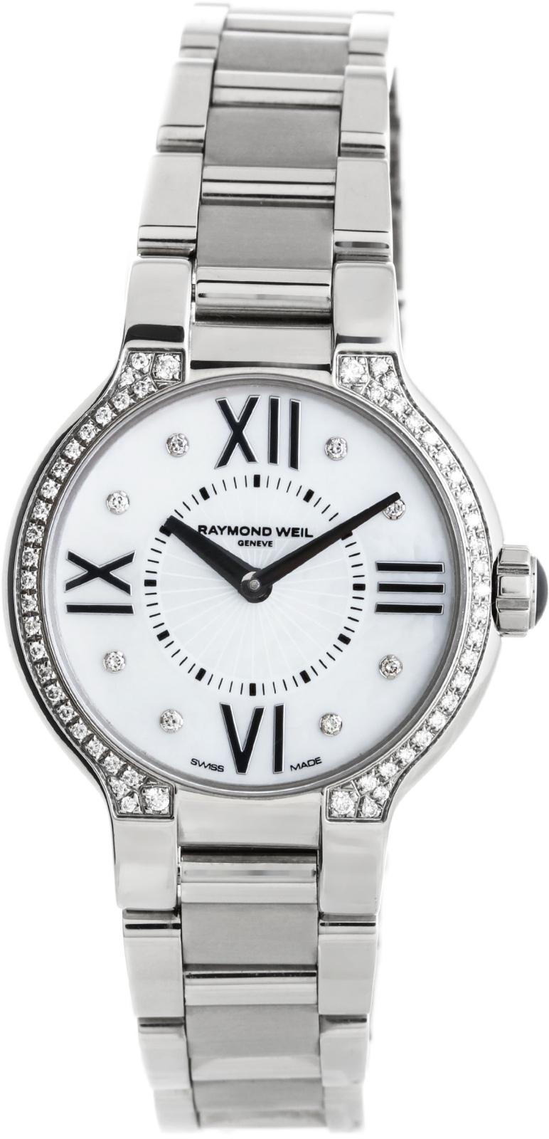 Raymond Weil Noemia 5927-STS-00995Наручные часы<br>Швейцарские часы Raymond Weil Noemia 5927-STS-00995Данная модель — яркий представитель коллекции Noemia. Это стильные женские часы. Материал корпуса часов — сталь. Стекло - сапфировое. Водозащита - 50 м. Цвет циферблата - белый. Диаметр корпуса часов составляет 32мм. Модель украшена бриллиантами.<br><br>Пол: Женские<br>Страна-производитель: Швейцария<br>Механизм: Кварцевый<br>Материал корпуса: Сталь<br>Материал ремня/браслета: Сталь<br>Водозащита, диапазон: 20 - 100 м<br>Стекло: Сапфировое<br>Толщина корпуса: None<br>Стиль: Мода