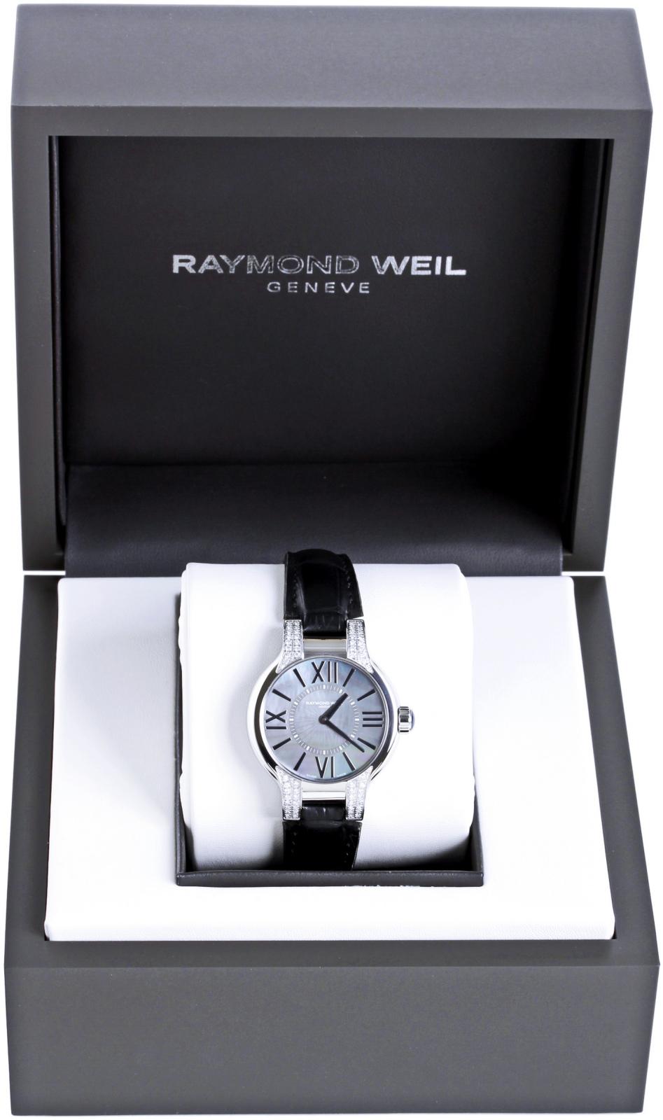 Raymond Weil Noemia 5932-SLS-00297Наручные часы<br>Швейцарские часы Raymond Weil Noemia 5932-SLS-00297Часы принадежат коллекции Noemia. Это великолепные женские часы. Материал корпуса часов &amp;mdash; сталь. В этой модели стоит сапфировое стекло. Часы этой модели обладают водозащитой 50 м. Основной цвет циферблата черный. Часы обладают корпусом 32мм. При создании этих часов использованы натуральные бриллианты.<br><br>Пол: Женские<br>Страна-производитель: Швейцария<br>Механизм: Кварцевый<br>Материал корпуса: Сталь<br>Материал ремня/браслета: Кожа<br>Водозащита, диапазон: 20 - 100 м<br>Стекло: Сапфировое<br>Толщина корпуса: None<br>Стиль: Мода