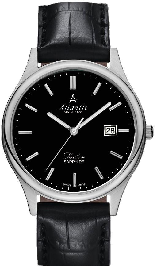 Atlantic Seabase 60342.41.61Наручные часы<br>Швейцарские часы Atlantic Seabase 60342.41.61<br><br>Пол: Мужские<br>Страна-производитель: Швейцария<br>Механизм: Кварцевый<br>Материал корпуса: Сталь<br>Материал ремня/браслета: Кожа<br>Водозащита, диапазон: 20 - 100 м<br>Стекло: Сапфировое<br>Толщина корпуса: 7 мм<br>Стиль: Классика