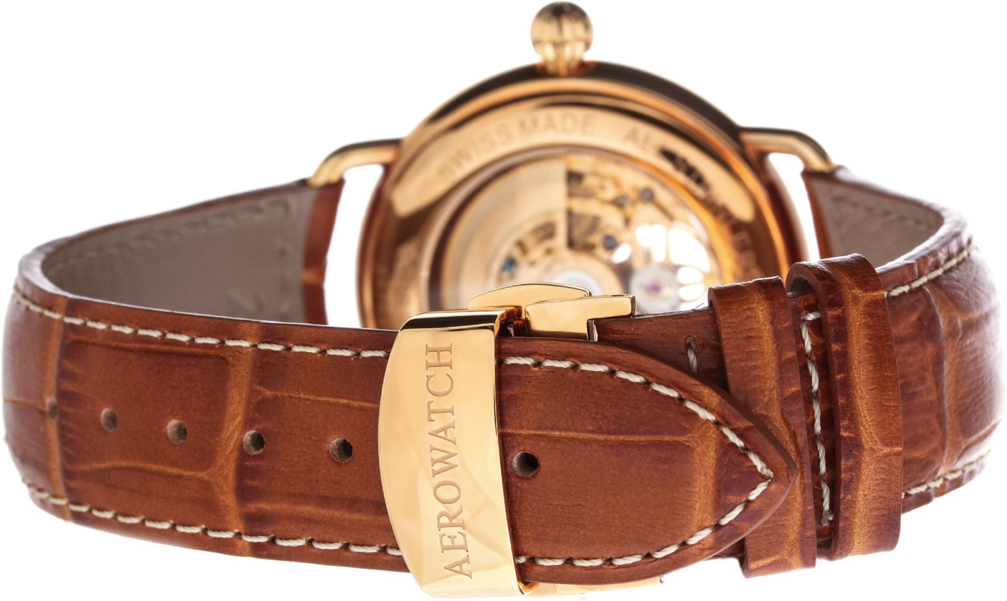 Aerowatch 1942 60900 RO14Наручные часы<br>Швейцарские часы Aerowatch 1942 60900 RO14<br><br>Пол: Мужские<br>Страна-производитель: Швейцария<br>Механизм: Механический<br>Материал корпуса: Сталь<br>Материал ремня/браслета: Кожа<br>Водозащита, диапазон: None<br>Стекло: Сапфировое<br>Толщина корпуса: None<br>Стиль: None