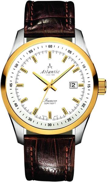 Atlantic Seamove 65351.43.21Наручные часы<br>Швейцарские часы Atlantic Seamove 65351.43.21Данная модель &amp;mdash; яркий представитель коллекции Seamove. Это модные мужские часы. Материал корпуса часов &amp;mdash; сталь+золото. Циферблат часов защищает сапфировое стекло. Часы выдерживают давление на глубине 50 м. Цвет циферблата - белый. Циферблат часов содержит часы, минуты, секунды. В данной модели используются следующие усложнения: дата, . Часы обладают корпусом 42мм.<br><br>Пол: Мужские<br>Страна-производитель: None<br>Механизм: Кварцевый<br>Материал корпуса: Сталь+золото<br>Материал ремня/браслета: Кожа<br>Водозащита, диапазон: None<br>Стекло: Сапфировое<br>Толщина корпуса: 11<br>Стиль: Классика