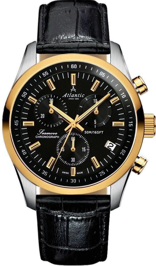 Atlantic Seamove 65451.43.61Наручные часы<br>Швейцарские часы Atlantic Seamove 65451.43.61<br><br>Пол: Мужские<br>Страна-производитель: Швейцария<br>Механизм: Кварцевый<br>Материал корпуса: Золото+сталь<br>Материал ремня/браслета: Кожа<br>Водозащита, диапазон: 20 - 100 м<br>Стекло: Сапфировое<br>Толщина корпуса: 11 мм<br>Стиль: Спорт