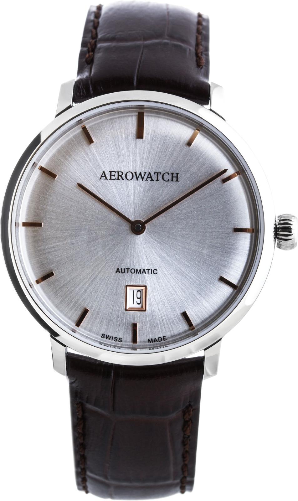 Aerowatch Heritage 67975 AA01Наручные часы<br>Швейцарские часы Aerowatch Heritage 67975 AA01<br><br>Пол: Мужские<br>Страна-производитель: Швейцария<br>Механизм: Механический<br>Материал корпуса: Сталь<br>Материал ремня/браслета: Кожа<br>Водозащита, диапазон: None<br>Стекло: Сапфировое<br>Толщина корпуса: None<br>Стиль: None