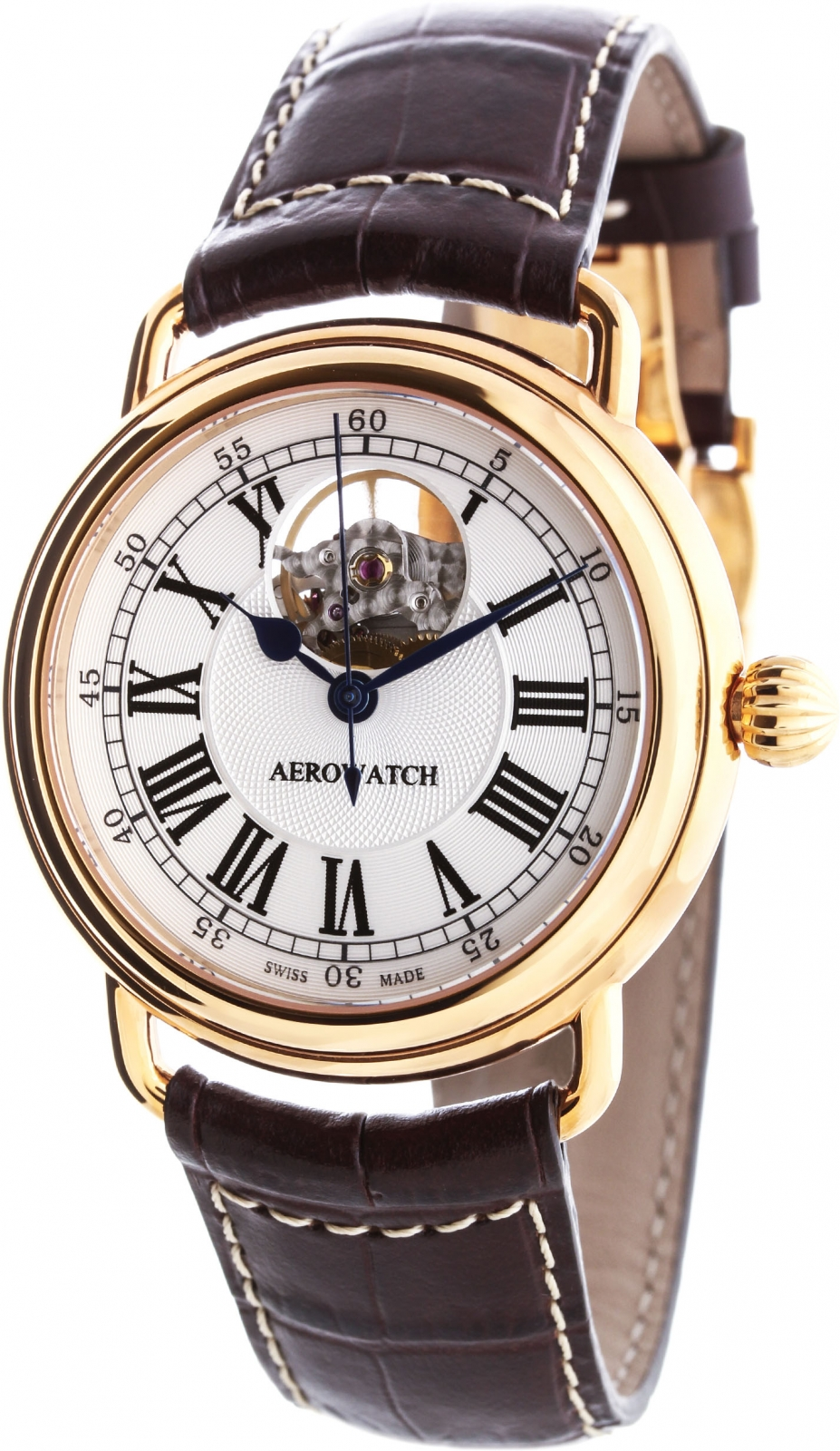 Aerowatch 1942 68900 R102Наручные часы<br>Швейцарские часы Aerowatch 1942 68900 R102<br><br>Пол: Мужские<br>Страна-производитель: Швейцария<br>Механизм: Механический<br>Материал корпуса: Сталь<br>Материал ремня/браслета: Кожа<br>Водозащита, диапазон: None<br>Стекло: Сапфировое<br>Толщина корпуса: None<br>Стиль: None