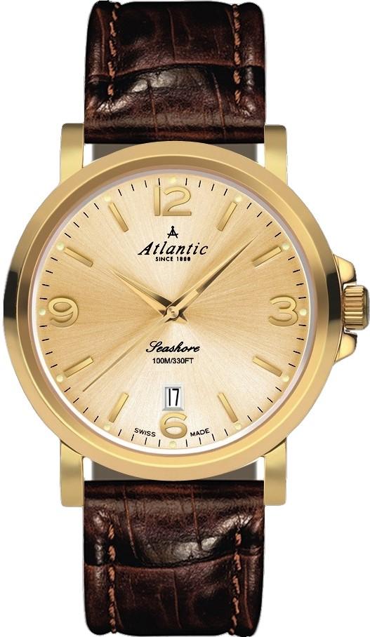 Atlantic Seashore 72360.45.35Наручные часы<br>Швейцарские часы Atlantic Seashore 72360.45.35<br><br>Пол: Мужские<br>Страна-производитель: Швейцария<br>Механизм: Кварцевый<br>Материал корпуса: Сталь<br>Материал ремня/браслета: Кожа<br>Водозащита, диапазон: 100 - 150 м<br>Стекло: Сапфировое<br>Толщина корпуса: 10 мм<br>Стиль: Классика