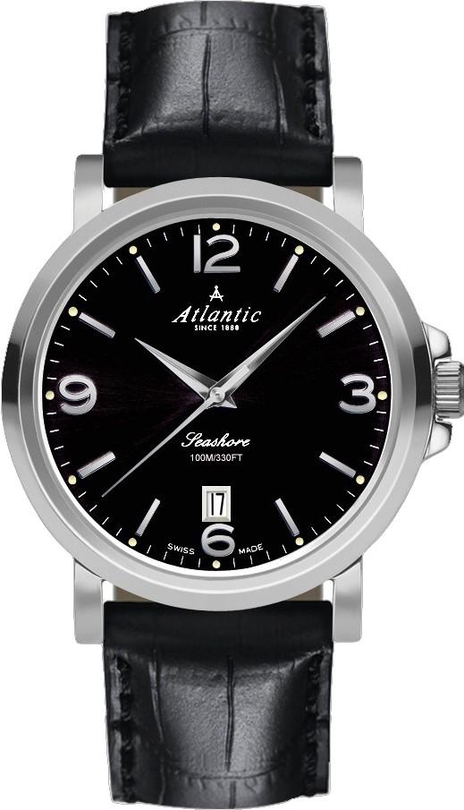 Atlantic Seashore 72760.41.65Наручные часы<br>Швейцарские часы Atlantic Seashore 72760.41.65<br><br>Пол: Мужские<br>Страна-производитель: Швейцария<br>Механизм: Механический<br>Материал корпуса: Сталь<br>Материал ремня/браслета: Кожа<br>Водозащита, диапазон: 100 - 150 м<br>Стекло: Сапфировое<br>Толщина корпуса: None<br>Стиль: Классика