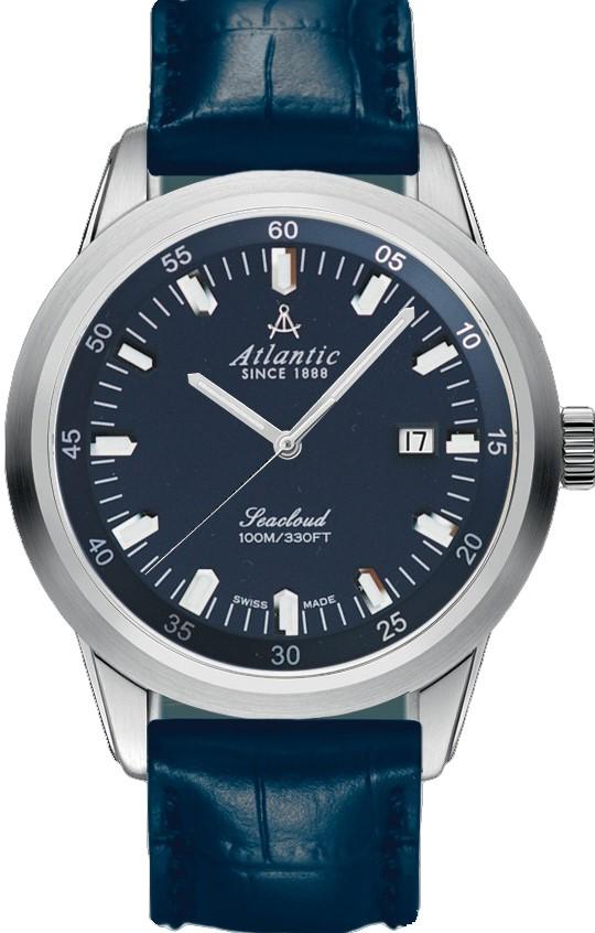 Atlantic Seacloud 73360.41.51Наручные часы<br>Швейцарские часы Atlantic Seacloud 73360.41.51<br><br>Пол: Мужские<br>Страна-производитель: Швейцария<br>Механизм: Кварцевый<br>Материал корпуса: Сталь<br>Материал ремня/браслета: Кожа<br>Водозащита, диапазон: 100 - 150 м<br>Стекло: Сапфировое<br>Толщина корпуса: None<br>Стиль: Классика