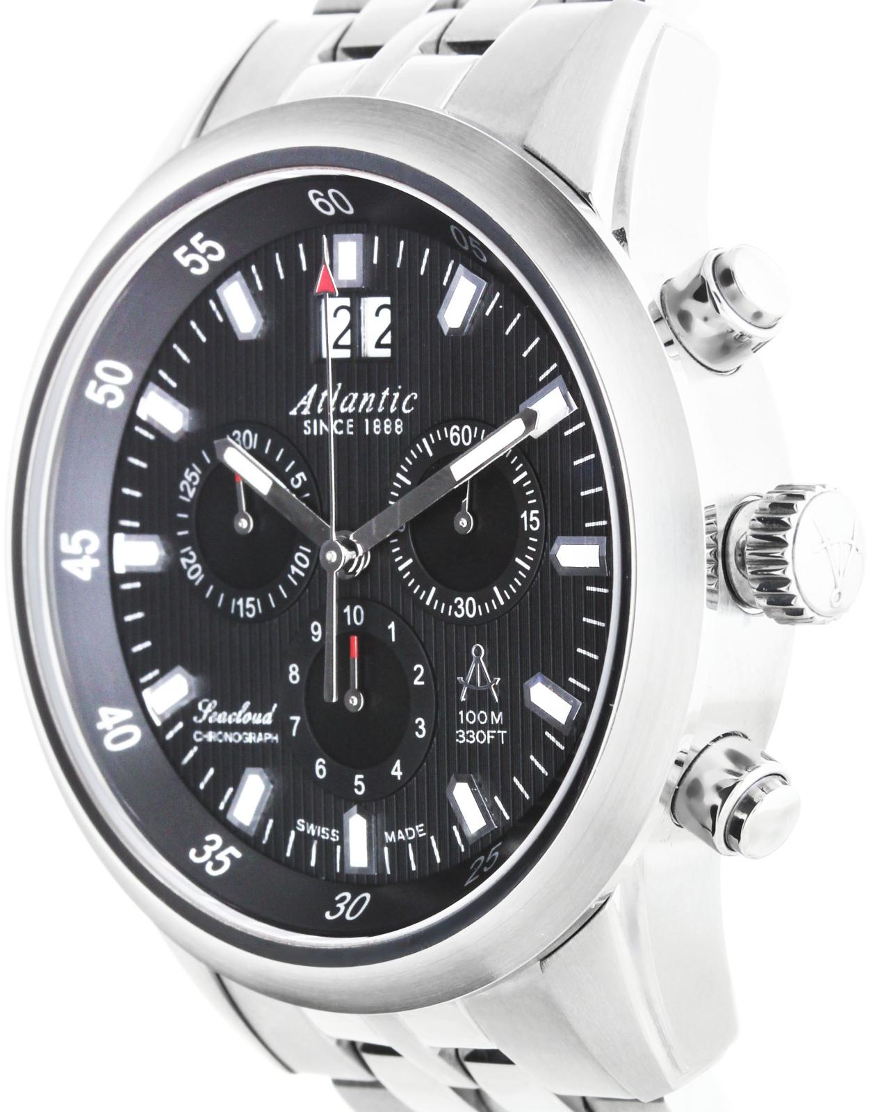 Atlantic Seacloud 73465.41.61Наручные часы<br>Швейцарские часы Atlantic Seacloud 73465.41.61<br><br>Пол: Мужские<br>Страна-производитель: Швейцария<br>Механизм: Кварцевый<br>Материал корпуса: Сталь<br>Материал ремня/браслета: Сталь<br>Водозащита, диапазон: 100 - 150 м<br>Стекло: Сапфировое<br>Толщина корпуса: None<br>Стиль: Спорт
