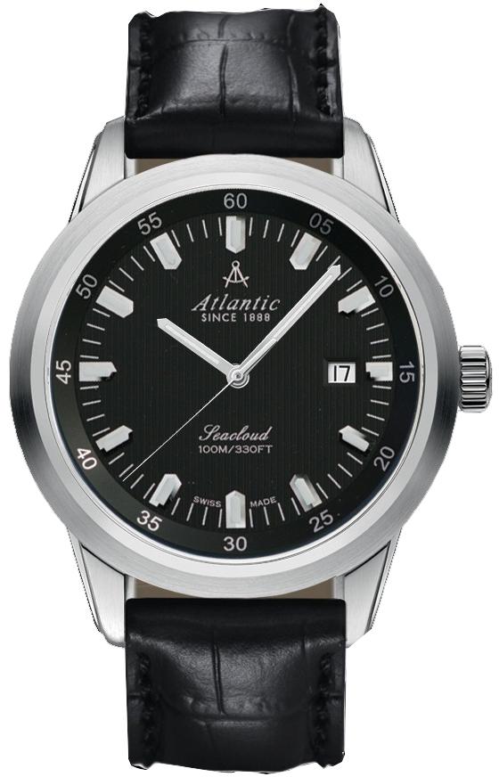 Atlantic Seacloud 73760.41.61Наручные часы<br>Швейцарские часы Atlantic Seacloud 73760.41.61<br><br>Пол: Мужские<br>Страна-производитель: Швейцария<br>Механизм: Механический<br>Материал корпуса: Сталь<br>Материал ремня/браслета: Кожа<br>Водозащита, диапазон: 100 - 150 м<br>Стекло: Сапфировое<br>Толщина корпуса: 10 мм<br>Стиль: Классика