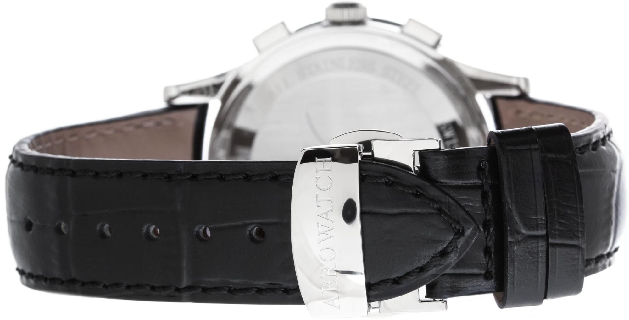 Aerowatch Les Grandes Classiques 80966 AA04Наручные часы<br>Швейцарские часы Aerowatch Les Grandes Classiques 80966 AA04<br><br>Пол: Мужские<br>Страна-производитель: Швейцария<br>Механизм: Кварцевый<br>Материал корпуса: Сталь<br>Материал ремня/браслета: Кожа<br>Водозащита, диапазон: None<br>Стекло: Сапфировое<br>Толщина корпуса: None<br>Стиль: None