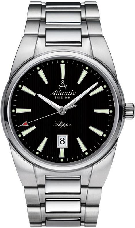 Atlantic Skipper 83365.41.61Наручные часы<br>Швейцарские часы Atlantic Skipper 83365.41.61Представленная модель входит в коллекцию Skipper. Это мужские часы. Материал корпуса часов — сталь. Стекло - сапфировое. Водозащита этих часов 100 м. Цвет циферблата - черный. Из основных функций на циферблате представлены: часы, минуты, секунды. В этих часах используются такие усложнения как дата, . Размер данной модели 41мм.<br><br>Пол: Мужские<br>Страна-производитель: None<br>Механизм: Кварцевый<br>Материал корпуса: Сталь<br>Материал ремня/браслета: Сталь<br>Водозащита, диапазон: None<br>Стекло: Сапфировое<br>Толщина корпуса: 10<br>Стиль: Классика