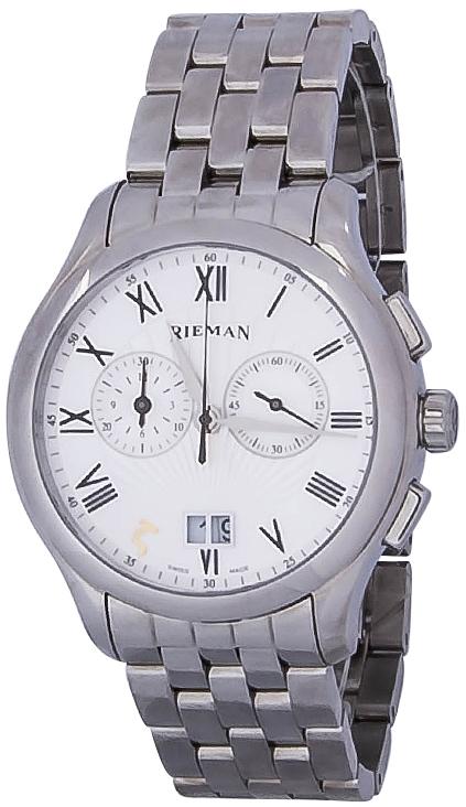 Rieman Chrono Sfero R1840.211.012Наручные часы<br>Швейцарские часы Rieman Chrono Sfero R1840.211.012Часы входят в модельный ряд коллекции Chrono Sfero. Это великолепные мужские часы. Материал корпуса часов &amp;mdash; сталь. В этой модели стоит сапфировое стекло. Водозащита этих часов 30 м. Основной цвет циферблата белый. Из основных функций на циферблате представлены: часы, минуты, секунды. В этой модели используются такие усложнения как дата, . Диаметр корпуса 42мм.<br><br>Пол: Мужские<br>Страна-производитель: Швейцария<br>Механизм: Кварцевый<br>Материал корпуса: Сталь<br>Материал ремня/браслета: Сталь<br>Водозащита, диапазон: 20 - 100 м<br>Стекло: Сапфировое<br>Толщина корпуса: None<br>Стиль: Классика