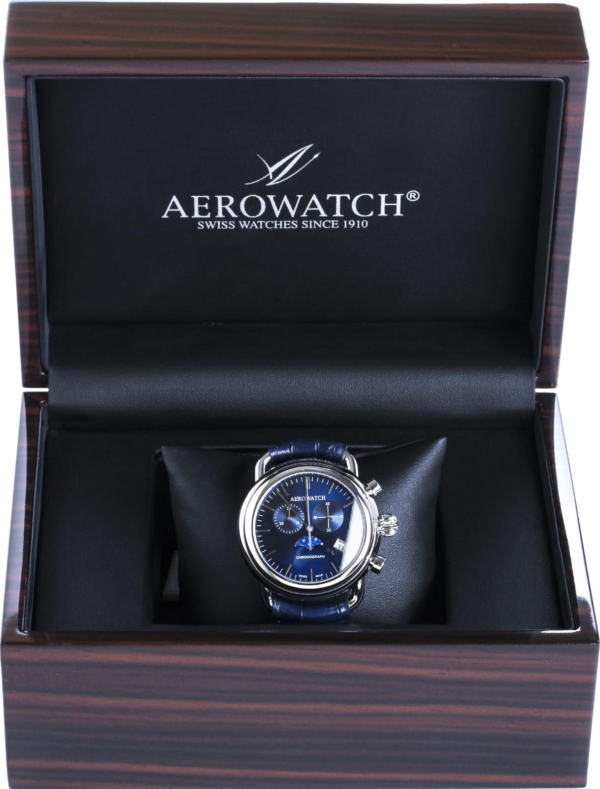 Aerowatch 1942 84934 AA05Наручные часы<br>Швейцарские часы Aerowatch 1942 84934 AA05<br><br>Пол: Мужские<br>Страна-производитель: Швейцария<br>Механизм: Кварцевый<br>Материал корпуса: Сталь<br>Материал ремня/браслета: Кожа<br>Водозащита, диапазон: None<br>Стекло: Сапфировое<br>Толщина корпуса: None<br>Стиль: None