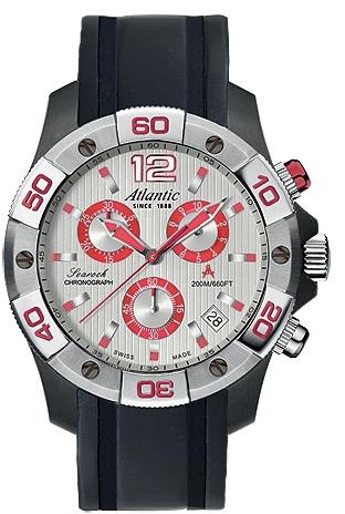 Atlantic Searock 87471.47.25RНаручные часы<br>Швейцарские часы Atlantic Searock 87471.47.25R<br><br>Пол: Мужские<br>Страна-производитель: Швейцария<br>Механизм: Кварцевый<br>Материал корпуса: Сталь<br>Материал ремня/браслета: Каучук<br>Водозащита, диапазон: 200 - 800 м<br>Стекло: Сапфировое<br>Толщина корпуса: 10 мм<br>Стиль: Спорт
