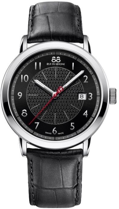 88 Rue Du Rhone Double 8 Origin 87WA120039Наручные часы<br>Швейцарские часы 88 Rue Du Rhone Double 8 Origin 87WA120039Часы принадежат коллекции Double 8 Origin. Это настоящие мужские часы. Материал корпуса часов — сталь. Циферблат часов защищает сапфировое стекло. Часы выдерживают давление на глубине 50 м. Основной цвет циферблата черный. Циферблат модели содержит часы, минуты, секунды. В этих часах используются такие усложнения как дата, . Размер данной модели 42мм.<br><br>Пол: Мужские<br>Страна-производитель: None<br>Механизм: Кварцевый<br>Материал корпуса: Сталь<br>Материал ремня/браслета: Кожа<br>Водозащита, диапазон: None<br>Стекло: Сапфировое<br>Толщина корпуса: 9,6 мм<br>Стиль: Классика