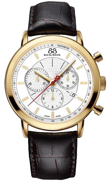 88 Rue Du Rhone Double 8 Origin 87WA120045Наручные часы<br>Швейцарские часы 88 Rue Du Rhone Double 8 Origin 87WA120045Часы входят в модельный ряд коллекции Double 8 Origin. Это модные мужские часы. Материал корпуса часов &amp;mdash; сталь. В этой модели стоит сапфировое стекло. Часы выдерживают давление на глубине 50 м. Цвет циферблата - белый. Циферблат содержит часы, минуты, секунды. В этой модели используются такие усложнения как дата, хронограф. Корпус часов в диаметре 42мм.<br><br>Пол: Мужские<br>Страна-производитель: None<br>Механизм: Кварцевый<br>Материал корпуса: Сталь<br>Материал ремня/браслета: Кожа<br>Водозащита, диапазон: None<br>Стекло: Сапфировое<br>Толщина корпуса: 11,1 мм<br>Стиль: Спорт