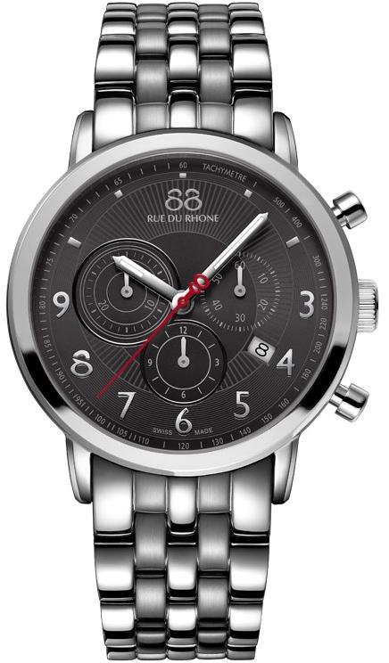 88 Rue Du Rhone Double 8 Origin 87WA120055Наручные часы<br>Швейцарские часы 88 Rue Du Rhone Double 8 Origin 87WA120055Модель входит в коллекцию Double 8 Origin. Это стильные мужские часы. Материал корпуса часов &amp;mdash; сталь. Стекло - сапфировое. Водозащита этих часов 50 м. Основной цвет циферблата черный. Циферблат модели содержит часы, минуты, секунды. В этой модели используются такие усложнения как дата, хронограф. Размер данной модели 42мм.<br><br>Пол: Мужские<br>Страна-производитель: None<br>Механизм: Кварцевый<br>Материал корпуса: Сталь<br>Материал ремня/браслета: Сталь<br>Водозащита, диапазон: None<br>Стекло: Сапфировое<br>Толщина корпуса: 9,35 мм<br>Стиль: Спорт