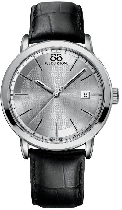 88 Rue Du Rhone Double 8 Origin 87WA130015Наручные часы<br>Швейцарские часы 88 Rue Du Rhone Double 8 Origin 87WA130015Данная модель входит в коллекцию Double 8 Origin. Это настоящие мужские часы. Материал корпуса часов &amp;mdash; сталь. Циферблат часов защищает сапфировое стекло. Водозащита этой модели 50 м. Цвет циферблата - черный. Из основных функций на циферблате представлены: часы, минуты, секунды. В данной модели используются следующие усложнения: дата, . Диаметр корпуса данной модели 42мм.<br><br>Пол: Мужские<br>Страна-производитель: None<br>Механизм: Кварцевый<br>Материал корпуса: Сталь<br>Материал ремня/браслета: Кожа<br>Водозащита, диапазон: None<br>Стекло: Сапфировое<br>Толщина корпуса: 10 мм<br>Стиль: Классика
