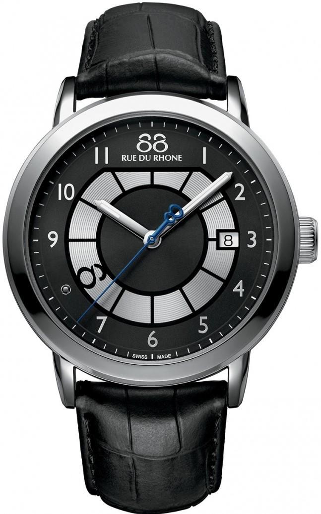 88 Rue Du Rhone Double 8 Origin 87WA130019Наручные часы<br>Швейцарские часы 88 Rue Du Rhone Double 8 Origin 87WA130019Часы входят в модельный ряд коллекции Double 8 Origin. Это мужские часы. Материал корпуса часов &amp;mdash; сталь. В этих часах используется сапфировое стекло. Водозащита этих часов 50 м. Основной цвет циферблата черный. Циферблат часов содержит часы, минуты, секунды. В данной модели используются следующие усложнения: дата, . Диаметр корпуса данной модели 45мм.<br><br>Пол: Мужские<br>Страна-производитель: None<br>Механизм: Кварцевый<br>Материал корпуса: Сталь<br>Материал ремня/браслета: Кожа<br>Водозащита, диапазон: None<br>Стекло: Сапфировое<br>Толщина корпуса: 11,7 мм<br>Стиль: Классика