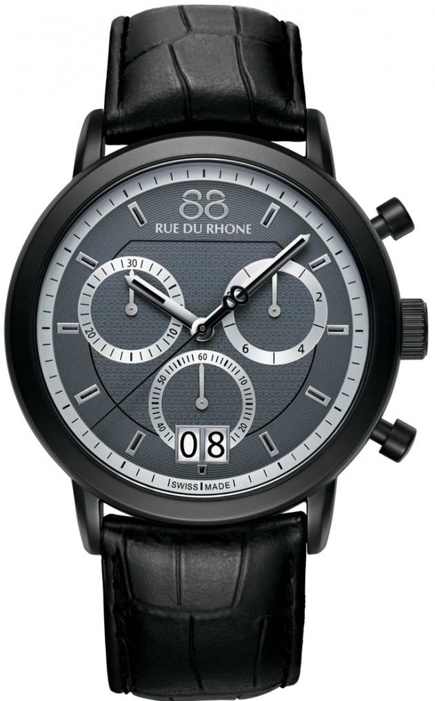 88 Rue Du Rhone Double 8 Origin 87WA130021Наручные часы<br>Швейцарские часы 88 Rue Du Rhone Double 8 Origin 87WA130021Данная модель входит в коллекцию Double 8 Origin. Это стильные мужские часы. Материал корпуса часов &amp;mdash; сталь. Стекло - сапфировое. Водозащита этих часов 50 м. Цвет циферблата - серый. Из основных функций на циферблате представлены: часы, минуты, секунды. В этой модели используются такие усложнения как дата, хронограф. Размер данной модели 45мм.<br><br>Пол: Мужские<br>Страна-производитель: None<br>Механизм: Кварцевый<br>Материал корпуса: Сталь<br>Материал ремня/браслета: Кожа<br>Водозащита, диапазон: None<br>Стекло: Сапфировое<br>Толщина корпуса: 11,7 мм<br>Стиль: Спорт