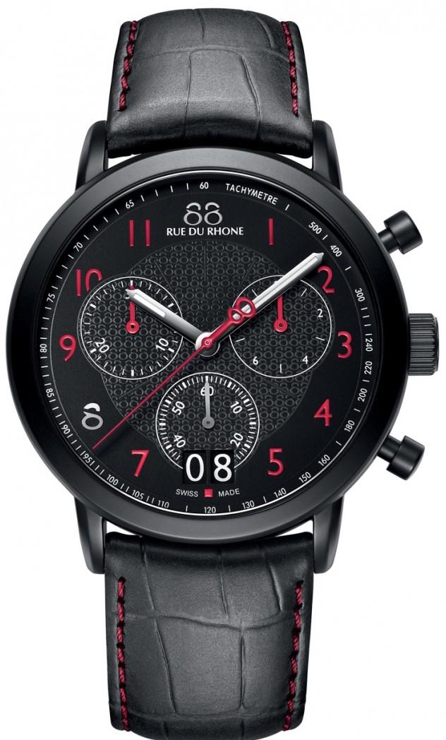 88 Rue Du Rhone Double 8 Origin 87WA130032Наручные часы<br>Швейцарские часы 88 Rue Du Rhone Double 8 Origin 87WA130032Данная модель — яркий представитель коллекции Double 8 Origin. Это модные мужские часы. Материал корпуса часов — сталь. Стекло - сапфировое. Часы этой модели обладают водозащитой 50 м. Цвет циферблата - белый. Циферблат содержит часы, минуты, секунды. В данной модели используются следующие усложнения: дата, хронограф. Диаметр корпуса 45мм.<br><br>Пол: Мужские<br>Страна-производитель: None<br>Механизм: Кварцевый<br>Материал корпуса: Сталь<br>Материал ремня/браслета: Кожа<br>Водозащита, диапазон: None<br>Стекло: Сапфировое<br>Толщина корпуса: None<br>Стиль: Спорт