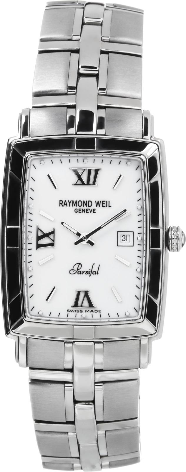 Raymond Weil Parsifal 9341-ST-00907Наручные часы<br>Швейцарские часы Raymond Weil Parsifal 9341-ST-00907Модель входит в коллекцию Parsifal. Это великолепные мужские часы. Материал корпуса часов — сталь. Стекло - сапфировое. Водозащита этой модели 100 м. Цвет циферблата - перламутр. Циферблат модели содержит часы, минуты. В этих часах используются такие усложнения как дата, . Корпус часов в диаметре 28х34мм.<br><br>Для кого?: Мужские<br>Страна-производитель: Швейцария<br>Механизм: Кварцевый<br>Материал корпуса: Сталь<br>Материал ремня/браслета: Сталь<br>Водозащита, диапазон: 100 - 150 м<br>Стекло: Сапфировое<br>Толщина корпуса: None<br>Стиль: Классика
