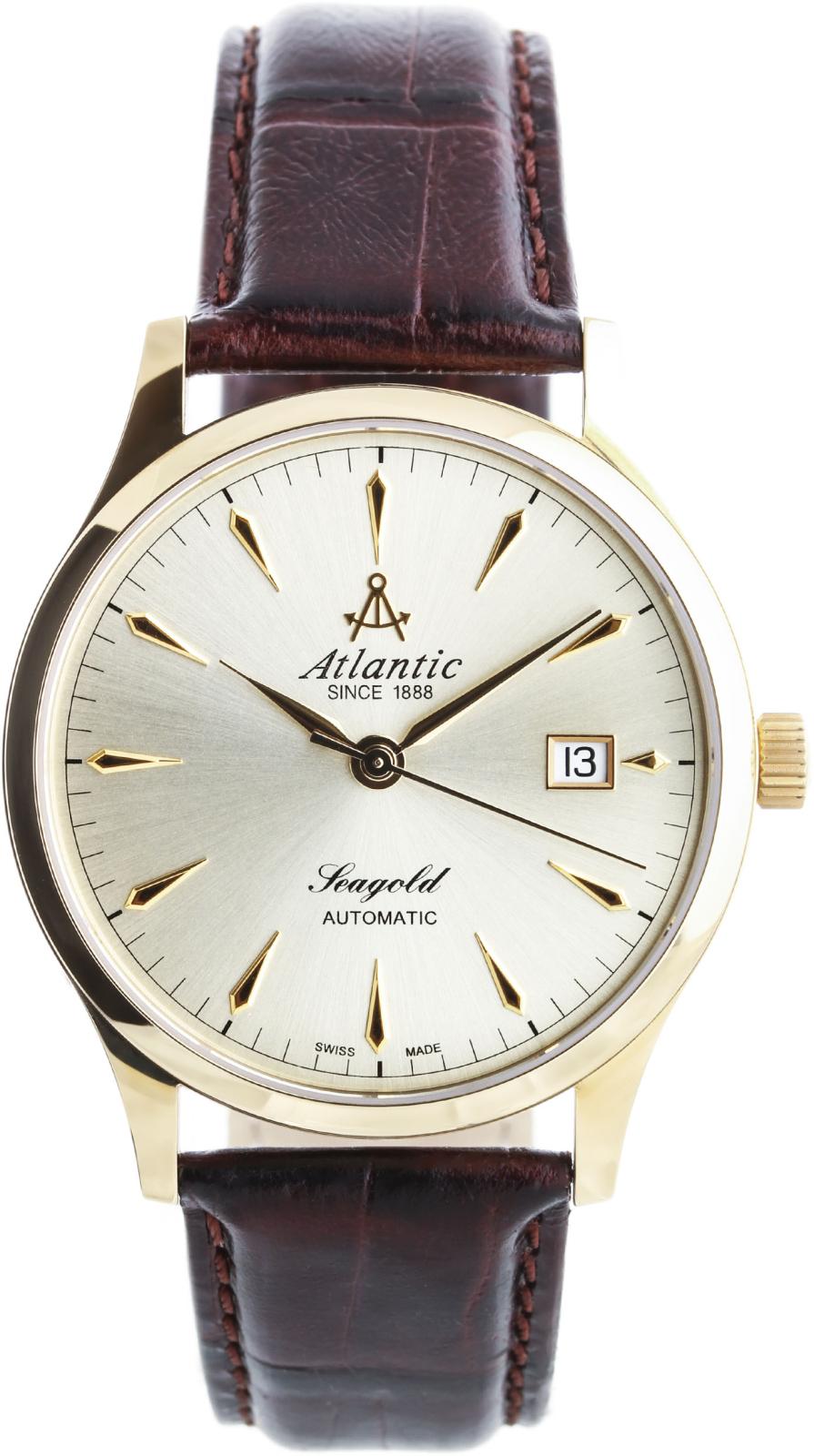 Atlantic Seagold 95743.65.31Наручные часы<br>Швейцарские часы Atlantic Seagold 95743.65.31<br><br>Пол: Мужские<br>Страна-производитель: Швейцария<br>Механизм: Механический<br>Материал корпуса: Желтое золото 18К<br>Материал ремня/браслета: Кожа<br>Водозащита, диапазон: 20 - 100 м<br>Стекло: Сапфировое<br>Толщина корпуса: None<br>Стиль: Классика