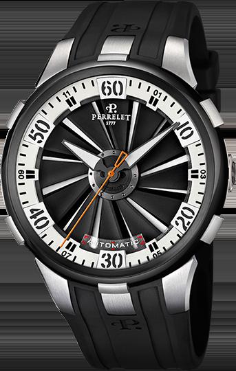 Perrelet Turbine A1050/4Наручные часы<br>Швейцарские часы Perrelet TURBINE XL&amp;nbsp;&amp;nbsp;A1050/4Вдохновленные эстетикой аэронавтики, в 2009 году инженеры и дизайнеры PERRELET создают новую модификацию запатентованной технологии двойного ротора - турбину с 12 алюминиевыми лопастамя, покрывающими весь циферблат и скользящими под внутренним безелем. Расположенные на нижнем циферблате полосы усиливают потрясающий эффект. Турбина не связана с инерционным грузом, благодаря чему развивается удивительная скорость вращения. Данная модель входит в коллекцию&amp;nbsp;TURBINE XL. Это модные спортивные мужские часы. Корпус часов вогнутой формы - титановый, безель и задняя крышка стальные с черным PVD покрытием, интегрированная заводная головка.&amp;nbsp;Механизм - P 331 - механика с автоподзаводом, 28800 полуколебаний/час, 25 камней, запас хода 42 часа.&amp;nbsp;Циферблат защищает сапфировое стекло с двусторонним антибликовым покрытием. Водозащита - 50 м.&amp;nbsp;Ремень - черный каучук. Диаметр корпуса - 48 мм.<br><br>Пол: Мужские<br>Страна-производитель: Швейцария<br>Механизм: Механический<br>Материал корпуса: Титан<br>Материал ремня/браслета: Каучук<br>Водозащита, диапазон: 20 - 100 м<br>Стекло: Сапфировое<br>Толщина корпуса: 14,30 мм<br>Стиль: Спорт