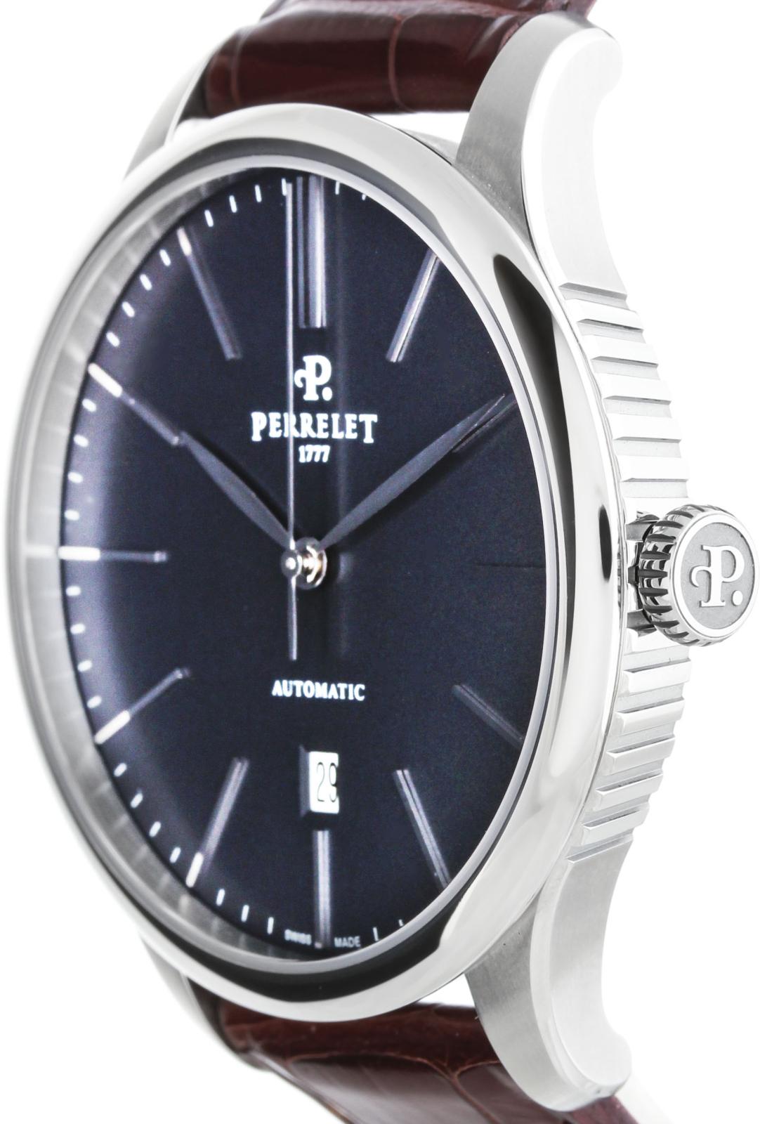 Perrelet First Class A1073/3Наручные часы<br>Швейцарские часы Perrelet First Class Automatic&amp;nbsp; A1073/3Модель из коллекции FIRST CLASS - элегантной и неподвластной времени, отличаются строгостью линий и гармоничными объемами корпуса диаметром 42,5 мм., выполненного из матовой и полированной стали. Корпус часов - нержавеющая сталь 316L.&amp;nbsp;Механизм - P 321 - механика с автоподзаводом, 28800 полуколебаний/час, 25 камней, запас хода 42 часа.&amp;nbsp;Циферблат защищает сапфировое стекло с двусторонним антибликовым покрытием. Водозащита - 50 м.&amp;nbsp;Ремень - кожа.<br><br>Пол: Мужские<br>Страна-производитель: Швейцария<br>Механизм: Механический<br>Материал корпуса: Сталь<br>Материал ремня/браслета: Кожа<br>Водозащита, диапазон: 20 - 100 м<br>Стекло: Сапфировое<br>Толщина корпуса: 10,70 мм<br>Стиль: Классика