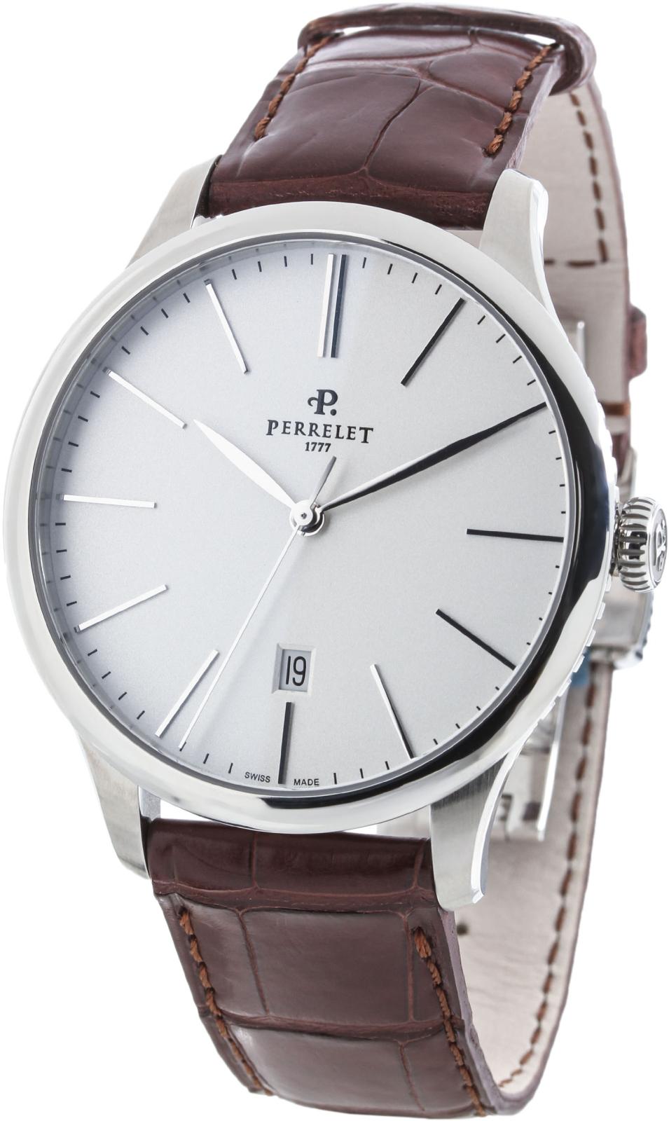 Perrelet First Class A1073/1Наручные часы<br>Швейцарские часы Perrelet First Class Automatic&amp;nbsp; A1073/1Модель из коллекции FIRST CLASS - элегантной и неподвластной времени, отличаются строгостью линий и гармоничными объемами корпуса диаметром 42,5 мм., выполненного из матовой и полированной стали. Корпус часов - нержавеющая сталь 316L.&amp;nbsp;Механизм - P 321 - механика с автоподзаводом, 28800 полуколебаний/час, 25 камней, запас хода 42 часа.&amp;nbsp;Циферблат защищает сапфировое стекло с двусторонним антибликовым покрытием. Водозащита - 50 м.&amp;nbsp;Ремень - кожа.<br><br>Пол: Мужские<br>Страна-производитель: Швейцария<br>Механизм: Механический<br>Материал корпуса: Сталь<br>Материал ремня/браслета: Кожа<br>Водозащита, диапазон: 20 - 100 м<br>Стекло: Сапфировое<br>Толщина корпуса: 10,70 мм<br>Стиль: Классика
