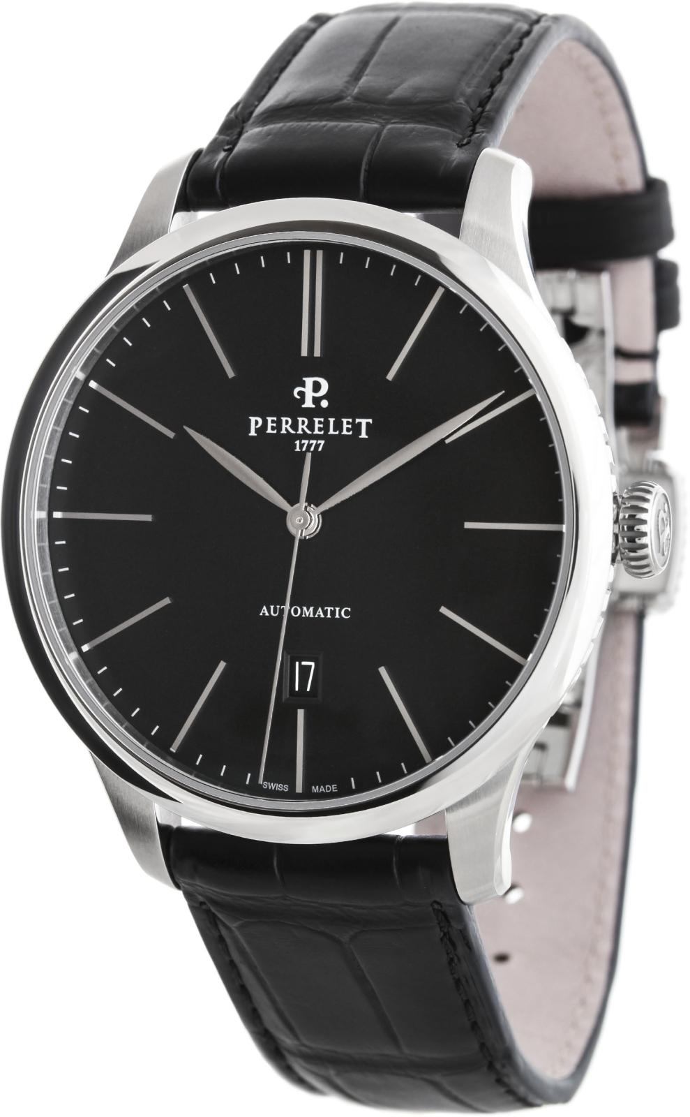 Perrelet First Class A1073/2Наручные часы<br>Швейцарские часы Perrelet First Class A1073/2<br><br>Пол: Мужские<br>Страна-производитель: Швейцария<br>Механизм: Механический<br>Материал корпуса: Сталь<br>Материал ремня/браслета: Кожа<br>Водозащита, диапазон: 20 - 100 м<br>Стекло: Сапфировое<br>Толщина корпуса: None<br>Стиль: Классика
