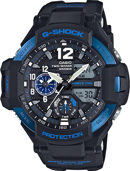 Casio G-shock Gravitymaster GA-1100-2BНаручные часы<br>Японские часы Casio G-shock Gravitymaster GA-1100-2B<br><br>Пол: Мужские<br>Страна-производитель: Япония<br>Механизм: Кварцевый<br>Материал корпуса: Пластик<br>Материал ремня/браслета: Каучук<br>Водозащита, диапазон: None<br>Стекло: Минеральное<br>Толщина корпуса: 16,6 мм<br>Стиль: None