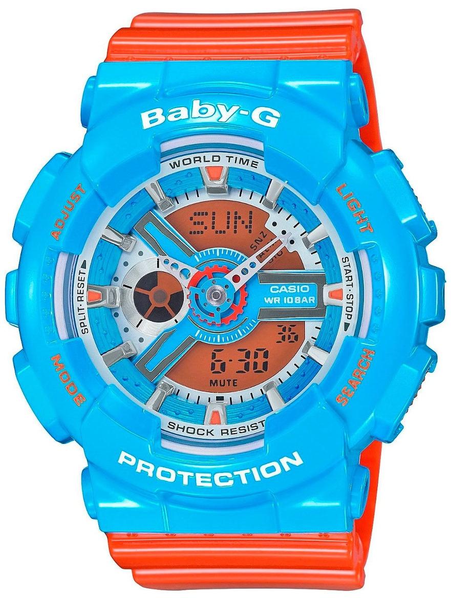 Casio Baby-G BA-110NC-2AНаручные часы<br>Японские часы Casio Baby-G BA-110NC-2A<br><br>Пол: Женские<br>Страна-производитель: Япония<br>Механизм: Кварцевый<br>Материал корпуса: Пластик<br>Материал ремня/браслета: Каучук<br>Водозащита, диапазон: None<br>Стекло: Минеральное<br>Толщина корпуса: 15,8 мм<br>Стиль: None