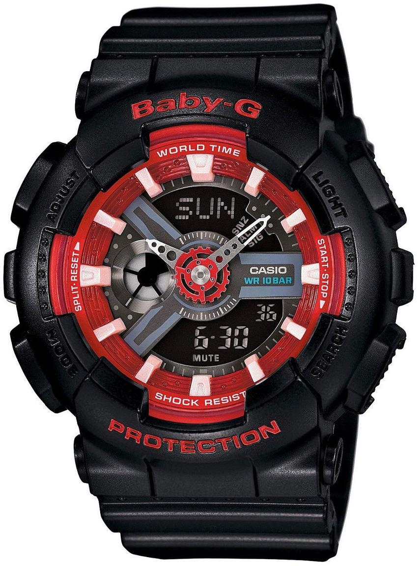 Casio Baby-G BA-110SN-1AНаручные часы<br>Японские часы Casio Baby-G BA-110SN-1A<br><br>Пол: Женские<br>Страна-производитель: Япония<br>Механизм: Кварцевый<br>Материал корпуса: Пластик<br>Материал ремня/браслета: None<br>Водозащита, диапазон: None<br>Стекло: Минеральное<br>Толщина корпуса: 15,8 мм<br>Стиль: None
