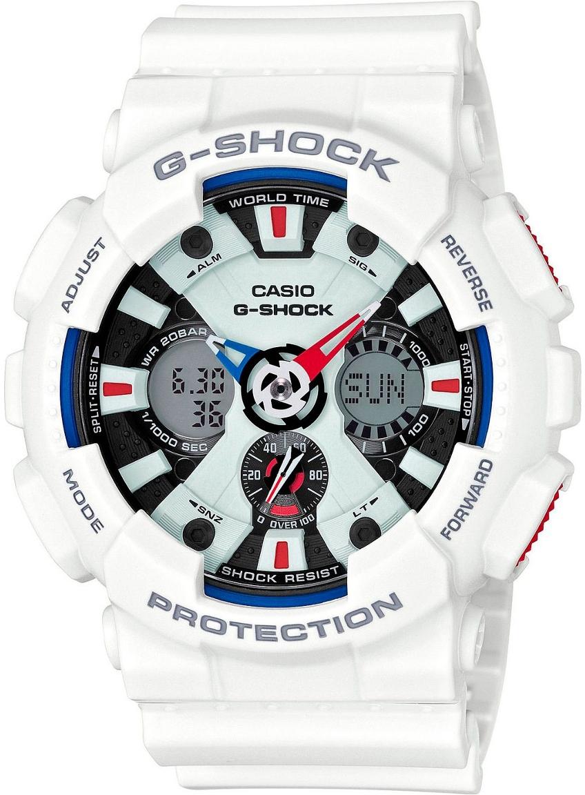 Casio G-shock G-Specials GA-120TR-7AНаручные часы<br>Японские часы Casio G-shock G-Specials GA-120TR-7A<br><br>Пол: Мужские<br>Страна-производитель: Япония<br>Механизм: Кварцевый<br>Материал корпуса: Пластик<br>Материал ремня/браслета: Каучук<br>Водозащита, диапазон: None<br>Стекло: Минеральное<br>Толщина корпуса: 16,9 мм<br>Стиль: None