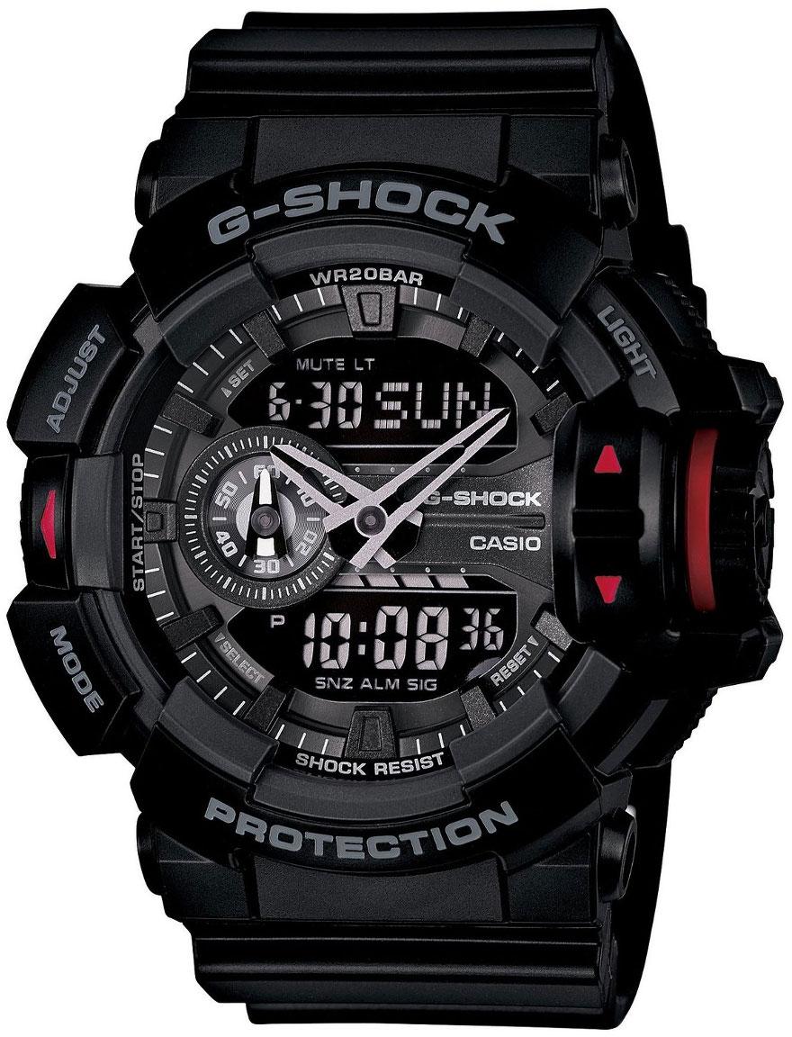 Casio G-shock G-Specials GA-400-1BНаручные часы<br>Японские часы Casio G-shock G-Specials GA-400-1B<br><br>Пол: Мужские<br>Страна-производитель: Япония<br>Механизм: Кварцевый<br>Материал корпуса: Пластик<br>Материал ремня/браслета: Каучук<br>Водозащита, диапазон: None<br>Стекло: Минеральное<br>Толщина корпуса: 18,3 мм<br>Стиль: None