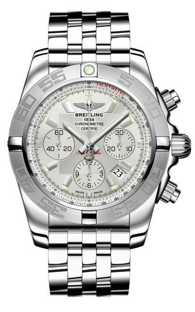 Breitling Chronomat 44 AB011011/G684/375AНаручные часы<br>Швейцарские часы Breitling Chronomat 44 AB011011/G684/375ACерия часов Chronomat44 – лучший хронограф – создана в 1984 году для авиаторов мирового масштаба. Это универсальные классические часы на каждый день. Циферблат - серебристый. Материал корпуса часов — сталь. Завинчивающаяся заводная коронка, пушеры (кнопки) хронографа с ограничителями на резьбе. Механизм - Breitling B01 - первый мануфактурный (собственного производства) механизм компании Breitling, 28800 полуколебаний/час, 47 камней, сертифицированный хронометр C.O.S.C., быстрая корректировка даты, запас хода до 70 часов. Сапфировое стекло с двойным антибликовым покрытием. Браслет - сталь. Водозащита - 500 м. Диаметр корпуса - 44 мм.<br><br>Для кого?: Мужские<br>Страна-производитель: Швейцария<br>Механизм: Механический<br>Материал корпуса: Сталь<br>Материал ремня/браслета: Сталь<br>Водозащита, диапазон: 200 - 800 м<br>Стекло: Сапфировое<br>Толщина корпуса: 16,95 мм<br>Стиль: Классика